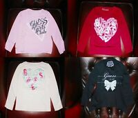 Guess Girls Pink Red Black Round Neck Long Sleeves Top Blouse T shirt 2-16 years