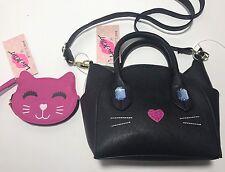 NEW! Betsey Johnson Black Cat Handbag Crossbody Bag & Pink Kitty Coin Purse SET