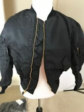 MA-1 Flight Jacket USAF By Green Brier Mnfg Large Black Vintage New Made in USA