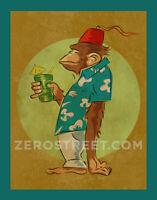 Bradbury The Chimp Drunk Ape Fez Tiki Bar Art Print Man Cave Artwork  Monkey