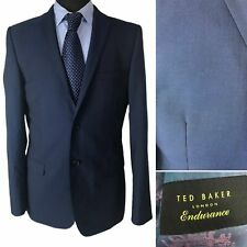 Ted Baker Mens Blazer Suit Jacket Size 40L Blue Wool Mix Single Breasted Smart