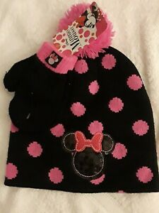 Toddler Girls Winter Hat Mittens Set Disney Minnie Mouse Knit Cap_New with Tag