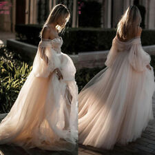 Sexy A-line Off the Shoulder Tulle Wedding Dresses Bridal Ball Gowns Custom Size