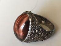 VINTAGE LARGE Brutalist Modernist Bark TIGER EYE Silver Ring N