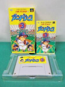 SNES -- GANBA LEAGUE 3 -- Boxed, Can Backup! Super famicom, Japan Game. 13761