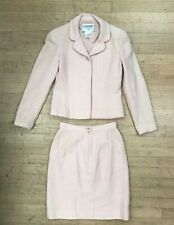 Authentic Vintage Chanel pale blush Pink Suit Set Blazer or jacket Skirt, as is