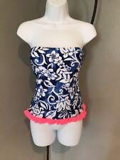 Womens Takini Blue Pink Trim Top Size Small. Flowers. Floral. Sun Beach Pool.B45