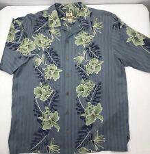 Tommy Bahama 100% Silk Button Down Hawaiian Shirt Aloha Blue Green Mens M Medium