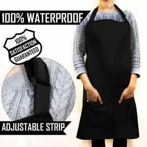Waterproof Apron in Black One Size Fits All Unisex Work Wear Barber/Hairdresser