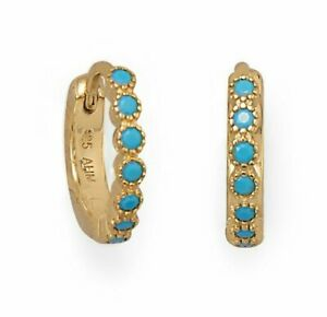 12.3mm Round Blue Turquoise Created Diamond Hoop Earrings 14K Yellow Gold Plated