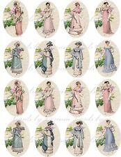 Vintage 16 Jane Austen stickers regency scrapbooking crafts glossy paper
