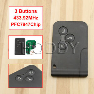 Renault Megane Scenic 2003 - 2008 3 Button Remote Key Card 433.92Mhz PCF7947