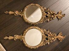Pair 24 x 8 vintage ornate mirrors mid century italy