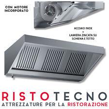 Cappa Aspirazione Acciaio inox parete professionale CON MOTORE cm 100x70x45H.