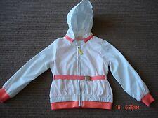 OVS Girls Windbreaker Jacket - size 4/5 - white with orange
