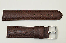 26mm Genuine Leather BROWN  Watch Band padded strap silver tone buckle