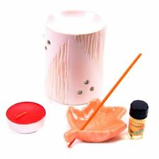 Set QUEMADOR de ACEITE RECOGE CENIZAS de cerámica  + INCIENSO + VELA + ESCENCIA