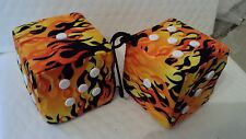 YELLOW FLAME  W / WHITE FUZZY DICE 3 inch square mirror hangers 2