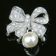 Pearl Bow made with Swarovski Crystal Bridal LOVE KNOT Ribbon Pin Brooch Jewelry