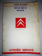 CITROËN BX 14 16 (1986) - Mode d'emploi (carnet conduite notice entretien)