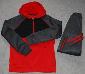 Boys Fila Sport Fleece Set – Red/Gray Pullover Sweatshirt and Pants
