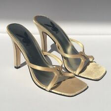 "Champagne Stain Playboy Mules Size 5.5 with 4"" slim heel leather sole"