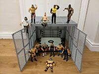 WWE MATTEL HELL IN A CELL PLAYSET, 12 WRESTLING FIGURES & RING CAGE RARE BUNDLE