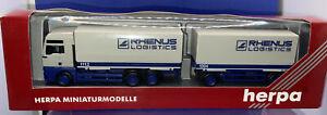 1:87 # Herpa MAN TGA XXL HX Articulated Rhenus Logistics No. 147477 Wagon & Drag