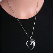 Brillantez de corazón trampa caballo colgante collar cadena plata clásico hueco