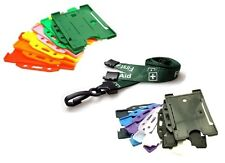 Green FIRST AID Breakaway Plastic Clip Lanyard with Landscape ID Card Holder