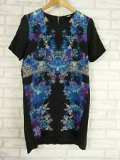 NICHOLAS THE LABEL Silk Print Dress Sz 10  Black, Blue, Pink Print