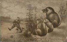 President William Taft Out Hunting & Smoking - Possums c1910 Postcard