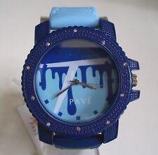 Men's Techno Pave Blue/Dark Blue Silicone Band Fashion Dressy/Casual Wrist Watch