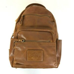 NWT Rawlings Rugged Medium Leather Backpack Tan Safe Touch