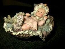 Sarahis Attic Little Edition Darling Baby in Basket w/Teddy Bear #124