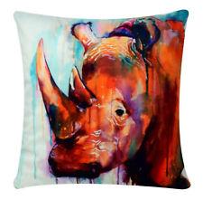 Watercolour Effect Rhinoceros Print Chenille Cotton 17 x 17 inch Cushion Cover