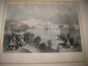 1800's original WH Bartlett Baltimore Maryland etching lithograph Harbor Fisher