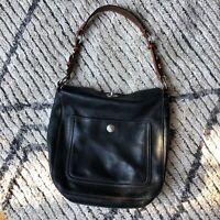 Coach Hobo Shoulder Bag Black Leather Medium Purse Handbag, Brown Strap