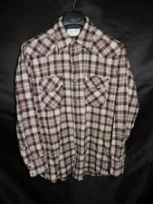 Vintage Pendleton M L Wool Shirt Red Blue Brown Plaid Snap High Grade Western