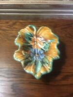 Majolica Sta Rosa Leaf Tray Dish Yellow/Green Colors