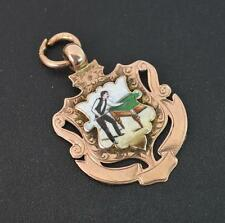 Rare Edwardian 9ct Rose Gold & Enamelled Snooker Watch Fob / Medal p1860