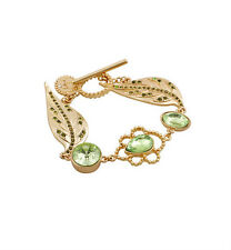 Vintage Green Crystal Diamante Floral Leaves Gold Tone Link Chain Bracelet