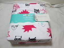 New Pillowfort CAT CAPERS Vivid Microfiber Full Sheet Set ~ Pink and Ebony Black