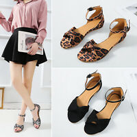 Women Ankle Strap Buckle Flat Heel Sandals Fashion Casual Bowknot Open Toe Shoes