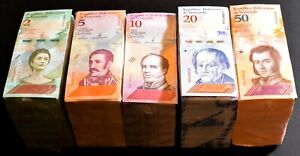 2018 Venezuela $2, $5, $10, $20, $50 Bolivares UNC New 5 Bricks 5000 Pcs SKU037