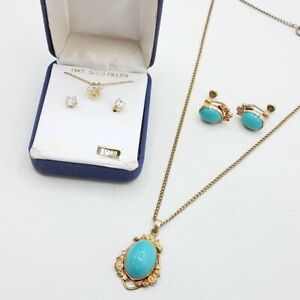 Gold Filled Lot of 2 Earring and Necklace Sets With CZ and Resin Stone HE304