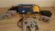 Nintendo 64 Pokemon Pikachu Edition Blau Spielekonsole mit Controller und Spiele