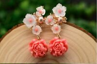 Real 925 Sterling Silver Pink Coral Drop Earrings White Pearl Pink Natural