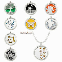 Aroma Pendant Necklace Stainless Steel Essential Oil Diffuser Locket 30mm Gift