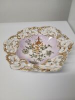 Antique C. T. Germany Porcelain Bowl Gold Trim Reticulated (look at description)